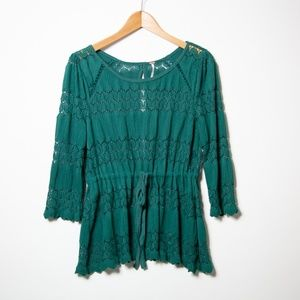 Free People Hunter Green Lace Waist Tie Top_M